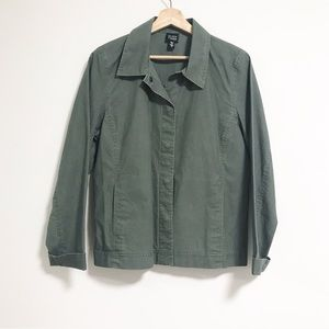 Eileen Fisher. Boxy military green cargo top.